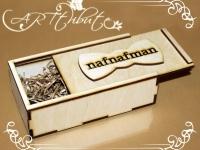 Коробка деревянная-пенал для мужской бабочки № 01